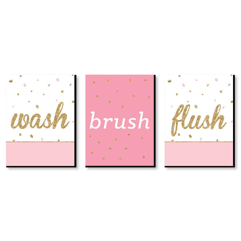 Big Dot of Happiness Girl - Pink and Gold - Kids Bathroom Rules Wall Art - 7.5 x 10 inches - Set of 3 Signs - Wash, Brush, Flush