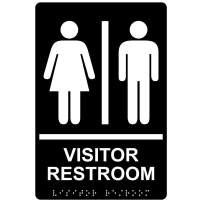 Visitor Restroom Sign, ADA-Compliant Braille and Raised Letters, 9x6 in. White on Black Acrylic with Adhesive Mounting Strips by ComplianceSigns