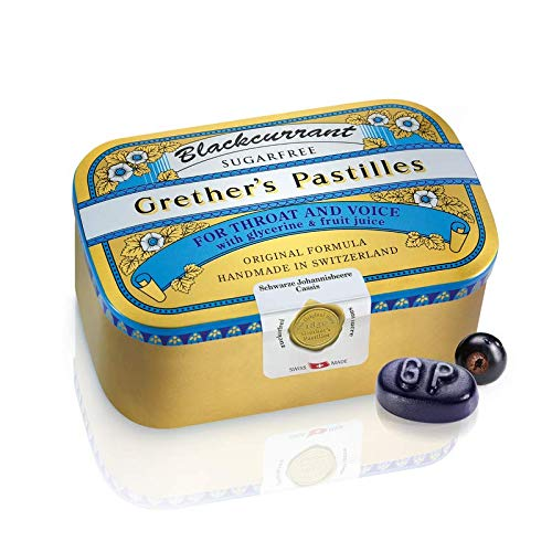 Grether's Pastilles Sugar Free Formula for Dry Mouth and Sore Throat Relief, Blackcurrant, 4-Pack, 3.75 oz. Per Box