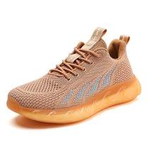 SKDOIUL Men Sport Running Shoes Mesh Breathable Comfort Gym Tennis Athletic Walking Shoes Runner Jogging Sneakers Brown Size 7