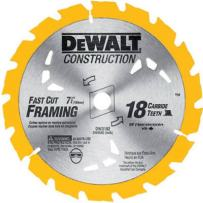 DEWALT DW3192 Construction Series 7-1/4-Inch 18 Tooth ATB Thin Kerf Framing Saw Blade with 5/8-Inch and Diamond Knockout Arbor