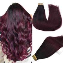 Labhair Tape in Hair Extensions Real Human Hair Extensions Wine Red 99J Burgundy Highlighted Natural Black Balayage Hair Extensions Tape in Hair Extensions Double Weft Thick Hair 20pcs 50g 14inch