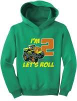 Tstars Birthday Gift for 2 Year Old Boy Truck 2nd Birthday Boys Toddler Hoodie