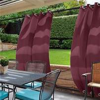 cololeaf Water Repellent Outdoor Decor Panel Grommet at top and Bottom Curtains/Drapes Panels for Patio,Front Porch,Gazebo, Pergola, Cabana, Dock, Beach Home,Burgundy 120W x 96L Inch (1 Panel)