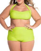 LALAGEN Women's High Waist Halter Bandeau 2 Piece Plus Size Bikini Swimsuit