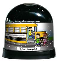 PrintedPerfection.com Personalized NTT Cartoon Caricature Snow Globe Gift: School Bus Driver Female