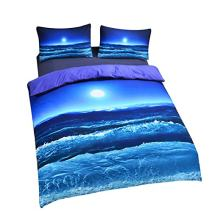 Sleepwish Deep Sleep Duvet Cover Set Home Textile Moon and Ocean Bedding Cool 3D Vivid Print Soft Blue Bed Spread Twin Size