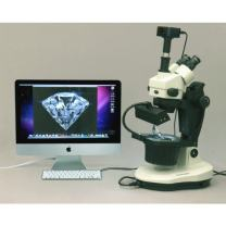 AmScope GM400TZ-5MA Digital Trinocular Gemology Stereo Zoom Microscope, WH10x Eyepieces, 3.5X-90X Magnification, 0.7X-4.5X Zoom Objective, Halogen and Fluorescent Lighting, Inclined Pillar Stand, 110V-120V, Includes 0.5X and 2.0X Barlow Lenses, 5MP Camera with Reduction Lens, and Software