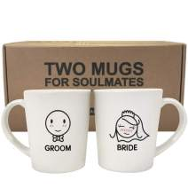 BOLDLOFT Bride and Groom Coffee Mugs- Bridal Shower Gifts for Bride- His and Hers Gifts for Wedding, Engagement, Newlywed Gifts for Couples