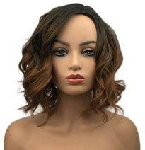 Wiginway Short Curly Wavy Wigs Brown Ombre Bob Full Synthetic for Women Medium 12 Inch