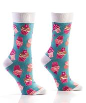 Yo Sox Cupcakes & Hearts Funky Women's Crew Socks for Dress or Casual Wear Size 5-10