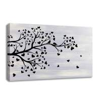 KALAWA Artistic Tree with Leaves in Black and White on Wood Background Rustic Home Decoration Paintings on Canvas Framed Prints Ready to Hang (24''W x 36''H)
