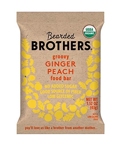 Bearded Brothers Vegan Organic Energy Bar | Gluten Free, Paleo and Whole 30 | Soy Free, Non GMO, Low Glycemic, Packed with Protein, Fiber + Whole Foods | Ginger Peach | 5 Pack