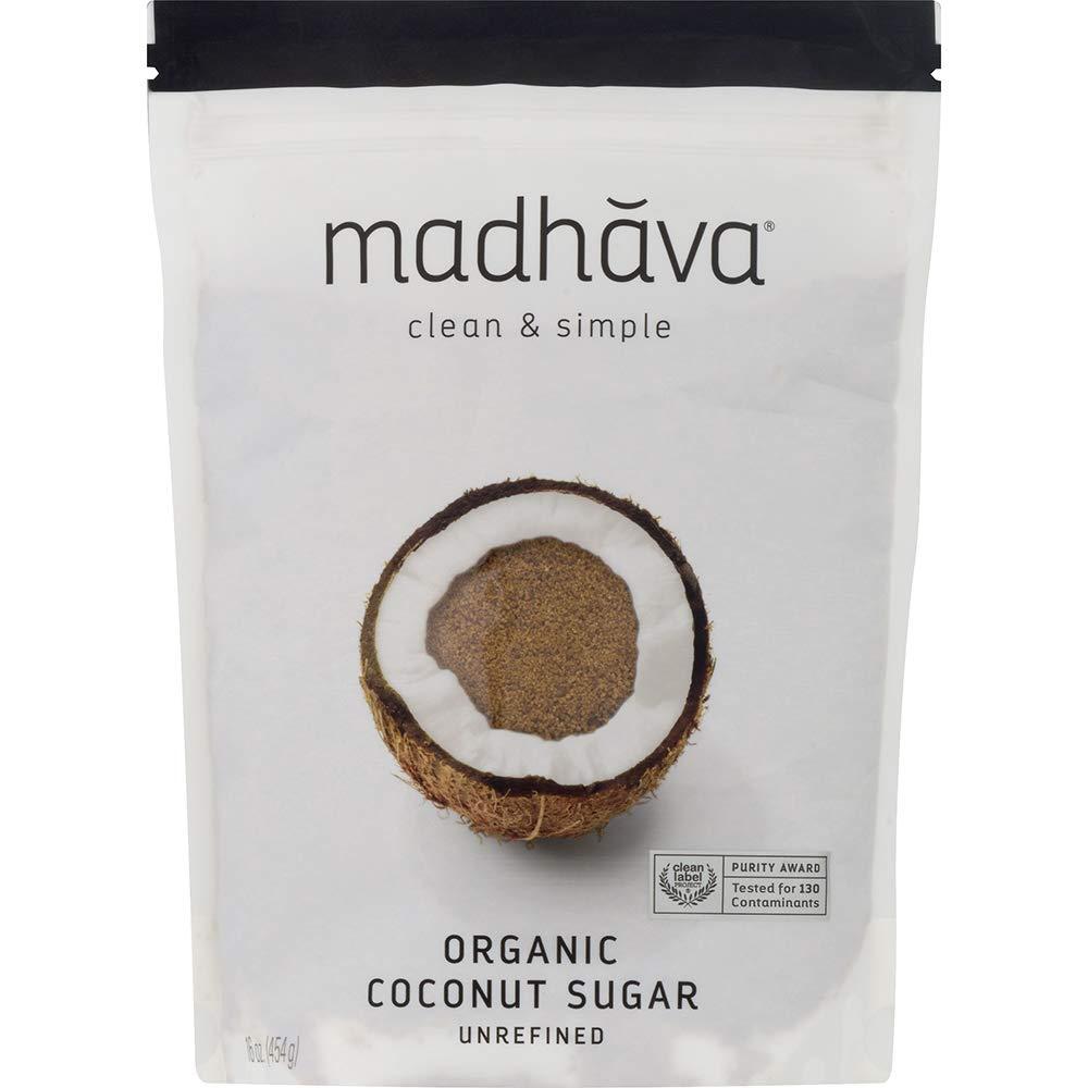 MADHAVA Organic Coconut Sugar 16 oz. Bag (Pack of 3) | Natural Sweetener, Sugar Alternative | Unrefined | Sugar for Coffee, Tea & Recipes | Vegan | Organic | Non GMO