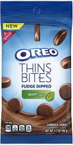 OREO Thins Bites Fudge Dipped Chocolate Sandwich Cookies, Mint Flavored Creme, 8 Snack Packs