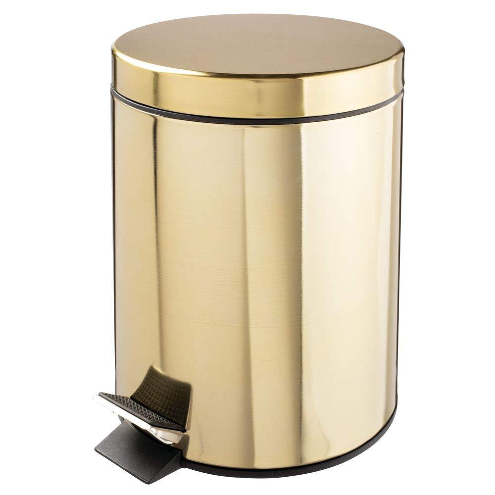 mDesign 5 Liter Round Small Metal Step Trash Can Wastebasket, Garbage Container Bin - for Bathroom, Powder Room, Bedroom, Kitchen, Craft Room, Office - Removable Liner Bucket - Soft Brass