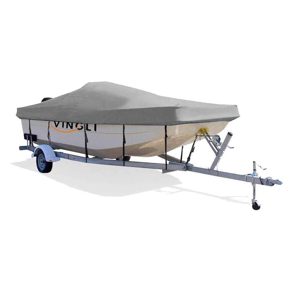 VINGLI Boat Cover Heavy Duty 600D Polyester Waterproof UV Resistant Marine Grade, Durable and Tear Proof, Fits 17-19 feet V-Hull, Tri-Hull Fishing Ski Pro-Style Bass Boats