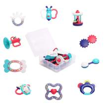 WISHTIME Rattles Teether Set Baby Toys - 10 Pcs Infant Shaker, Grab, Shaking Bell and Spin Rattle Musical Toy Set Early Education Toys Best Gifts for Newborn Infant Boys and Girls with Storage Box