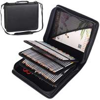 Shulaner 180 Slots PU Leather Colored Pencil Case Organizer Large Capacity Carrying Bag for Prismacolor Watercolor Pencils, Crayola Colored Pencils, Marco Pens, Gel Pens (Black, 180)