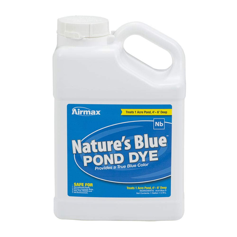 Airmax Nature's Blue Pond Dye Liquid Color, Add Shade & Protection, Enhance Natural Beauty, Safe for Fish, Wildlife, Case 4x1 Gallon