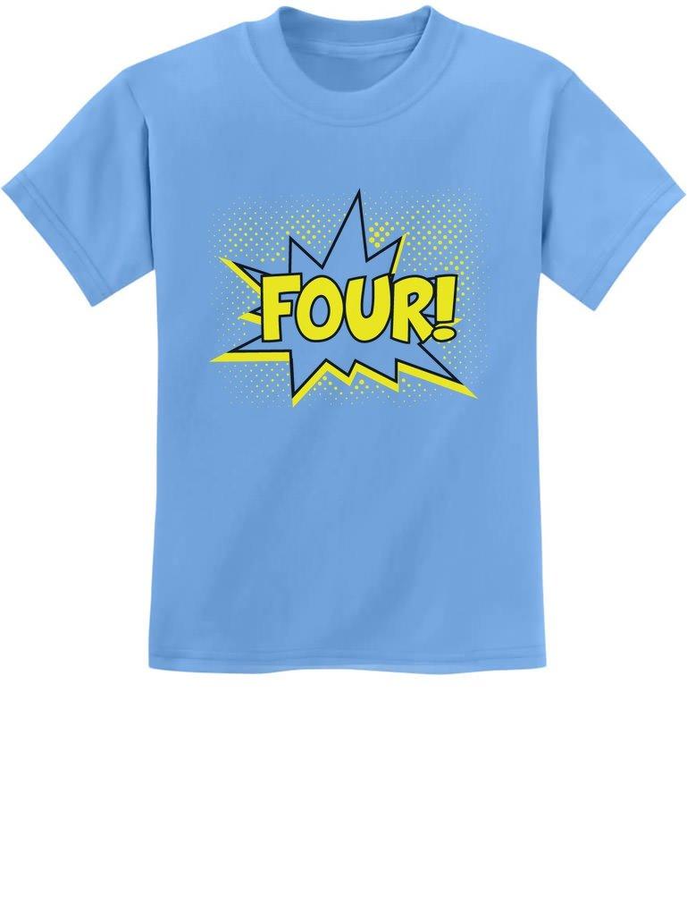 Four! Superhero 4th Birthday Shirt 4 Years Old Gift Kids T-Shirt