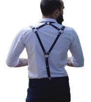ZAKIA Men's Punk Leather Half-high Waist Sling high Elasticity, Half-Length Adjustable Belt Nightclub Party Clothing