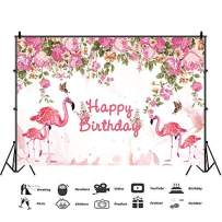 Baocicco 5x3ft Flamingo Happy Birthday Backdrop Chinese Roses Backdrop Pink Happy Birthday Party Photography Background Girls Kids Adults Photo Shooting Portrait Booth Vlogger Studio Video Props
