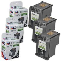 LD Remanufactured Ink Cartridge Replacements for HP 94 C8765WN (Black, 3-Pack)