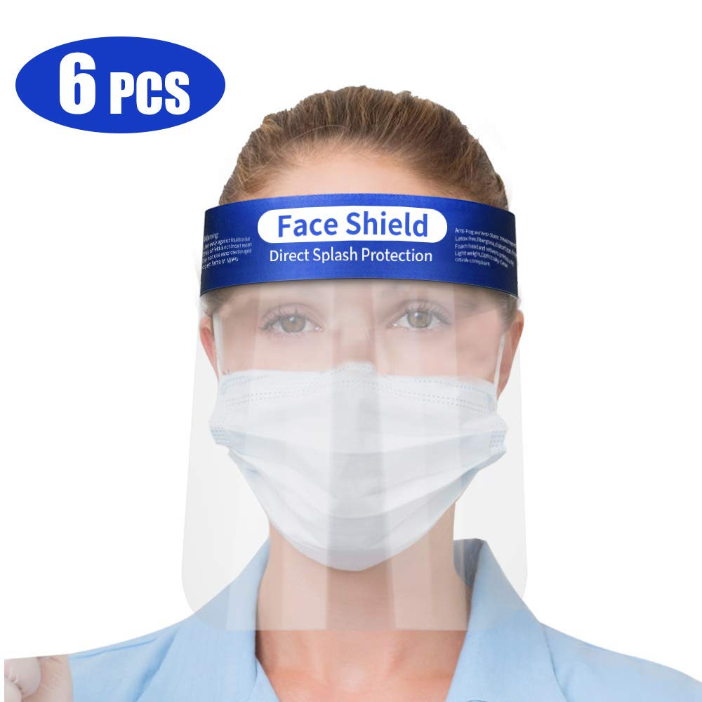 OCOOPA Safety Face Shield, 6 Pieces Reusable Adjustable Transparent Full Face Anti-spitting Protective Mask Hat Protect Eyes and Face Anti Drool Splash-Proof Facial Cover Men Women