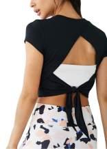 Bestisun Women's Activewear Cute Workout Crop Top Open Back Sports Shirts Gym Tie Back Tank