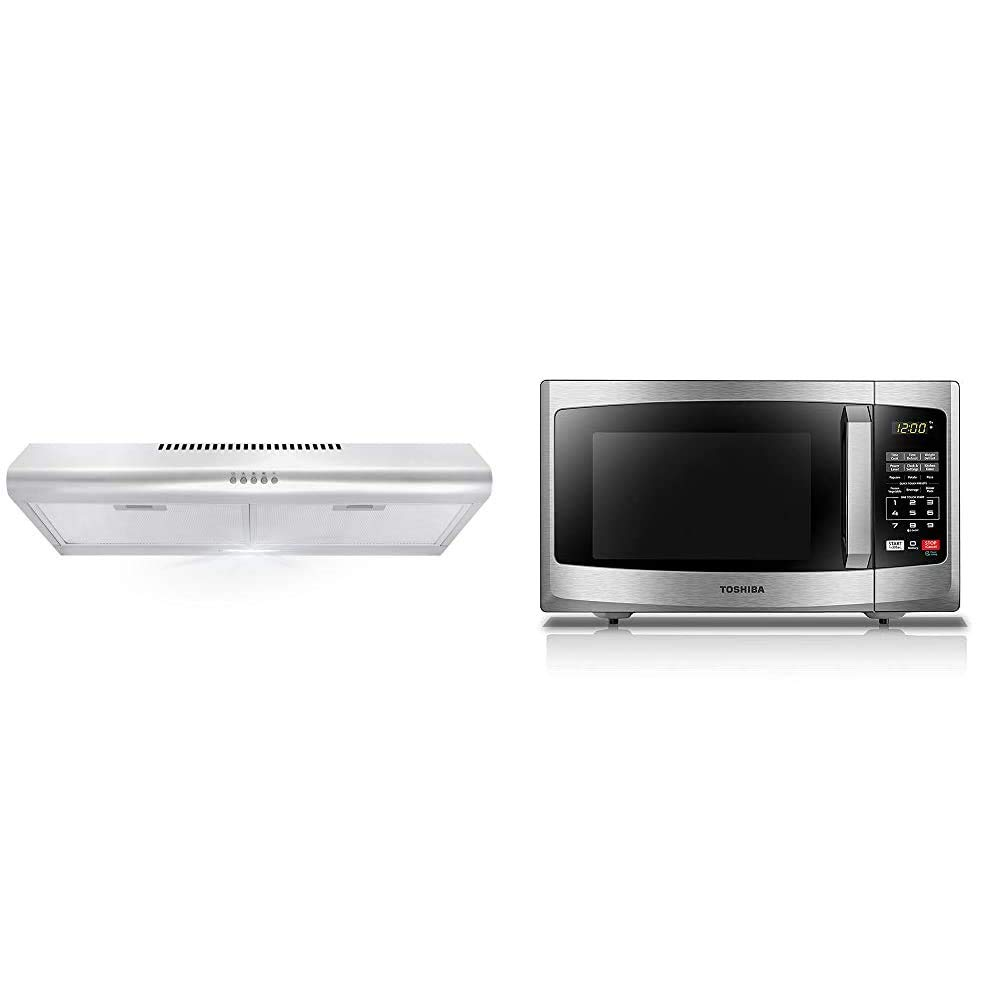 Cosmo 5MU30 30 in. Under Cabinet Range Hood with Ducted/Ductless Convertible Duct, Slim Kitchen Stove Vent & Toshiba EM925A5A-SS Microwave Oven with Sound On/Off ECO Mode, 0.9 Cu. ft/900W