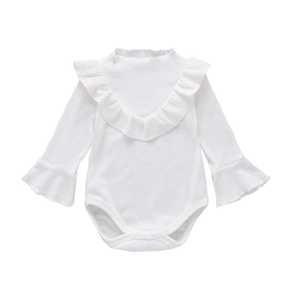 GRNSHTS Baby Girls Ruffle Romper Newborn Girls Solid Long Sleeve Bodysuit Infant Baby Girls Cotton Onesies Outfits