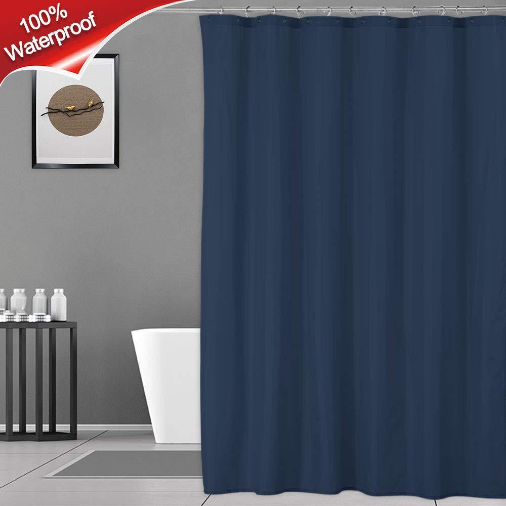 Haperlare Navy Shower Curtain or Liner, 100% Waterproof Bathroom Fabric Shower Curtain with Rustproof Grommets, Water-Repellent, 72 x 72 Inch, Navy