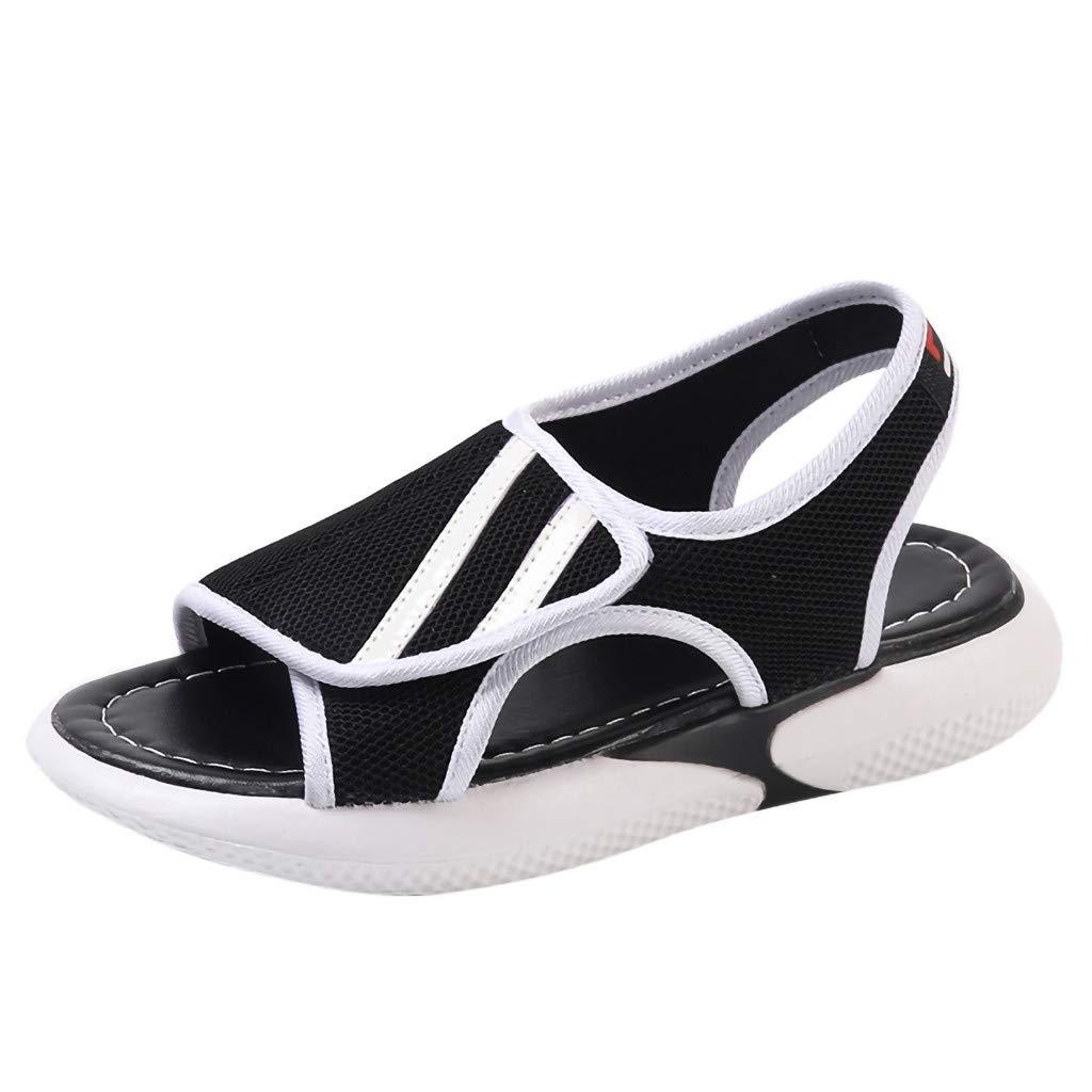 Hemlock Ladies Sandals Shoes Girl's Summer Flat Sandals Soft Bottom Sandals Wedges Platform Shoes (US:7.5, Black 3)
