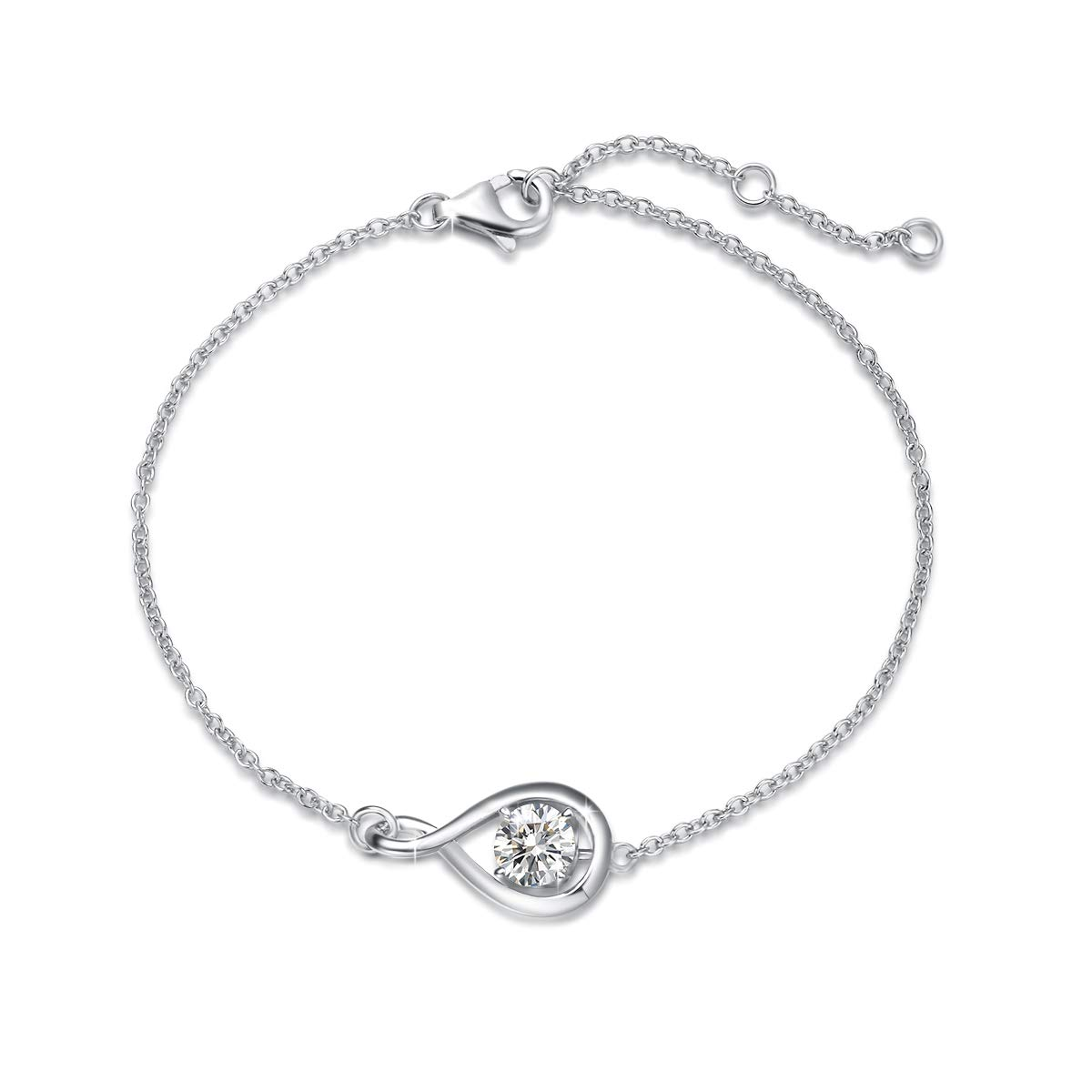 """FANCIME White Gold Plated 925 Sterling Silver Created Amethyst Dainty Infinity Link Bracelet February Birthstone Jewelry Gifts for Women Girls, Chain Length 6.3+1.3""""…"""