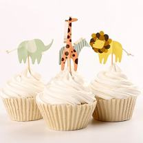 iMagitek 48 Pack Zoo Animal Themed Cake Toppers Zebra Lion Elephant Giraffe Cupcake Picks for Zoo Themed Birthday Party and Baby Shower