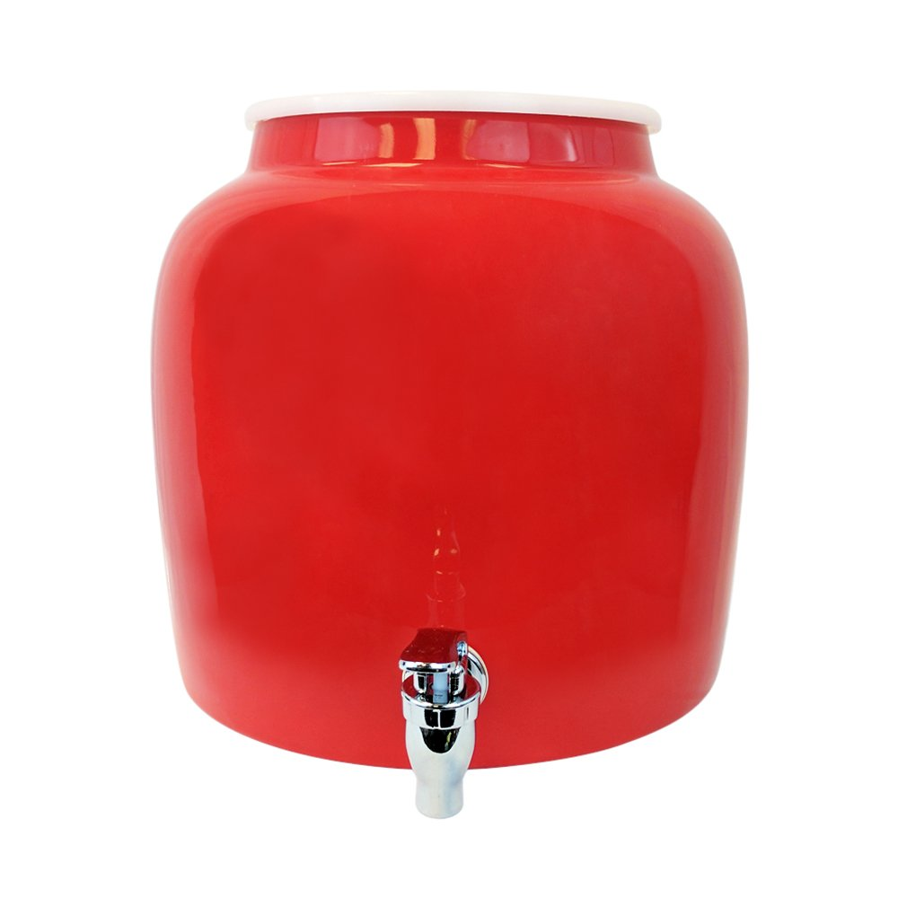 Porcelain Water Dispenser Crock - 2.5 Gallons - Comes with Crock Ring Protector and Chrome Painted Spigot Faucet - For Use With Water, Kombucha, Punch and More - Red