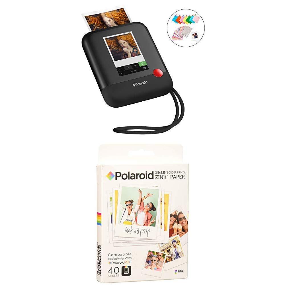 Polaroid Pop 2.0 2 in 1 Wireless Portable Instant 3x4 Photo Printer & Digital 20MP Camera (Black) with 3.5 x 4.25 inch Premium Zink Border Print Photo Paper (40 Sheets)