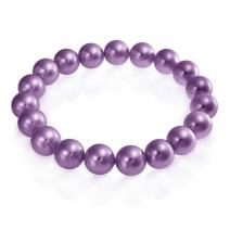 Bling Jewelry Classic Simple Ball Bead Round Stackable Single Strand Stretch Simulated Pearl Bracelet for Women 10MM Pastel Colors