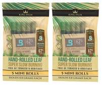 King Palm Mini Size Natural Pre Wrap Palm Leafs (2 Packs of 5, 10 Rolls Total) - Pre Rolled Cones - All Natural Cones - Corn Husk Filter - Preroll Cones - Prerolled Cones with Filter - Organic Cones