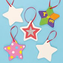 Ceramic Star Hanging Decorations for Kids to Paint & Decorate (Box of 5)