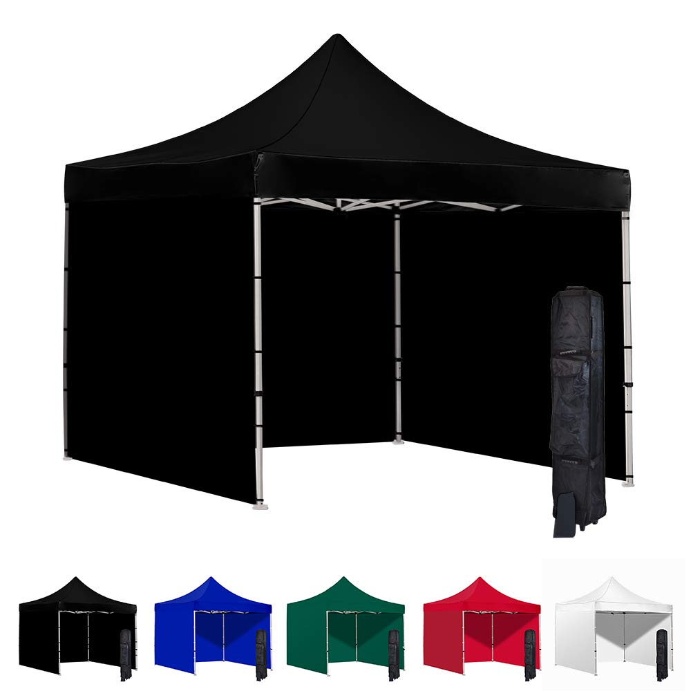 Vispronet 10x10 Pop Up Canopy Tent and 3 Side Walls – Commercial Grade Steel Frame with Water-Resistant Canopy Top and Sidewalls – Wheeled Canopy Bag and Stake Kit Included (Black)