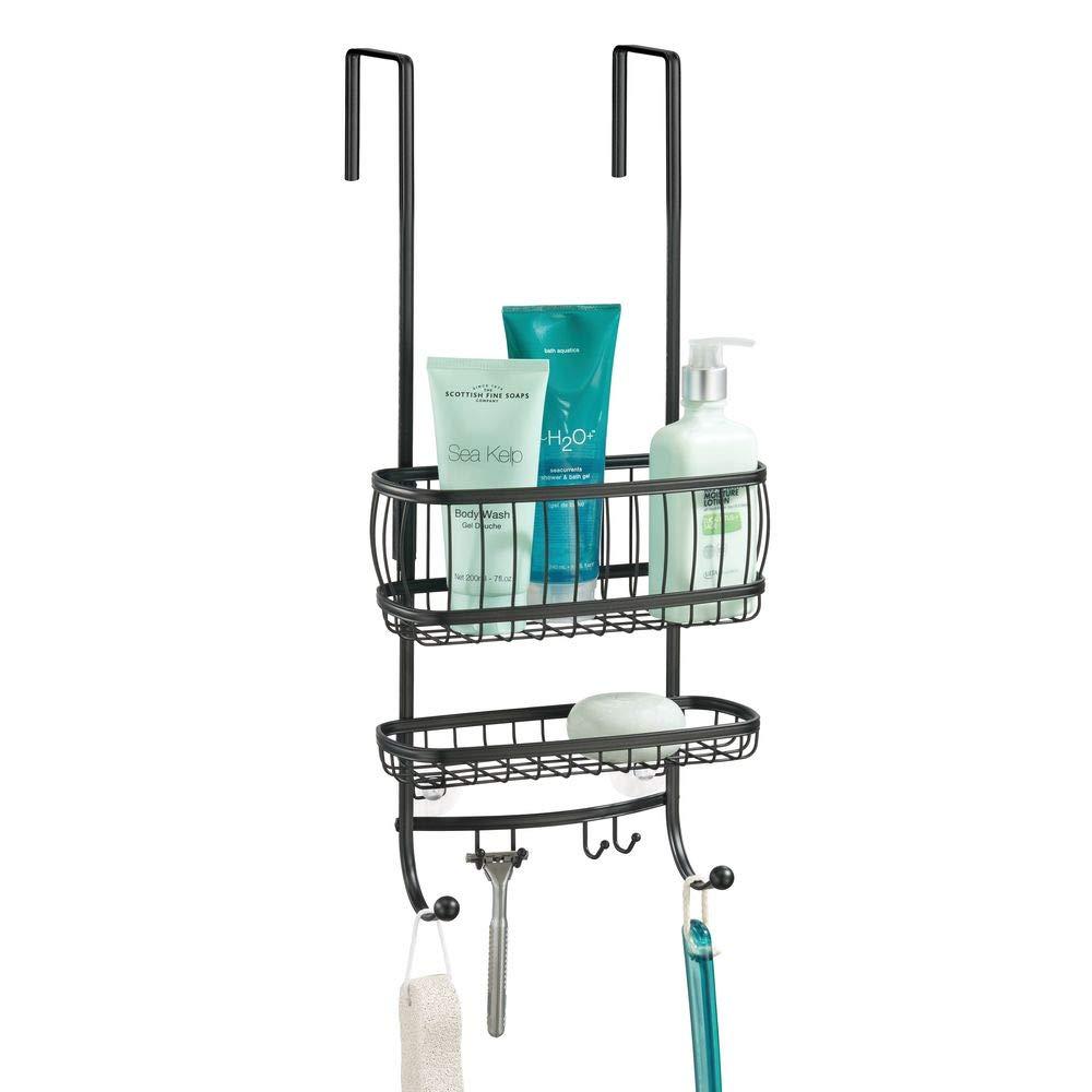 mDesign Small Metal Over Door Bathroom Tub & Shower Caddy, Hanging Storage Organizer Center - Holds Shampoo, Conditioner, Body Wash, Razor, Dry Towel - 2 Baskets, 6 Hooks - Matte Black