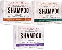 J.R.LIGGETT'S All-Natural Shampoo Bars -Tea Tree & Hemp Oil, Jojoba & Peppermint and Coconut & Argan Oil, Nourishes Follicles with Antioxidants and Vitamins, Sulfate-Free, Set of Three, 3.5 Ounce Bars