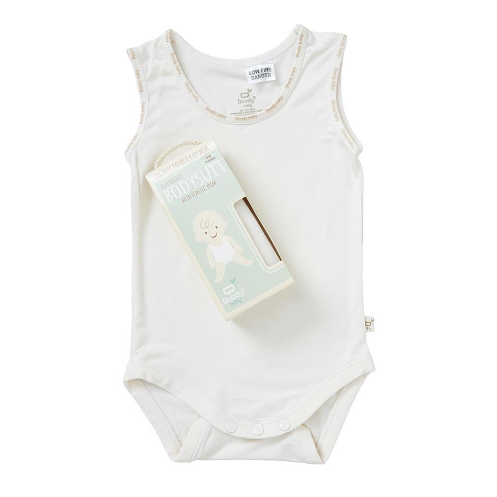 Boody Body Baby EcoWear Sleeveless Onesie - Soft Cooling Infant Bodysuit made from Natural Organic Bamboo - Soft Breathable Snap Bottom for Sensitive Skin - Chalk White, 6-12 months