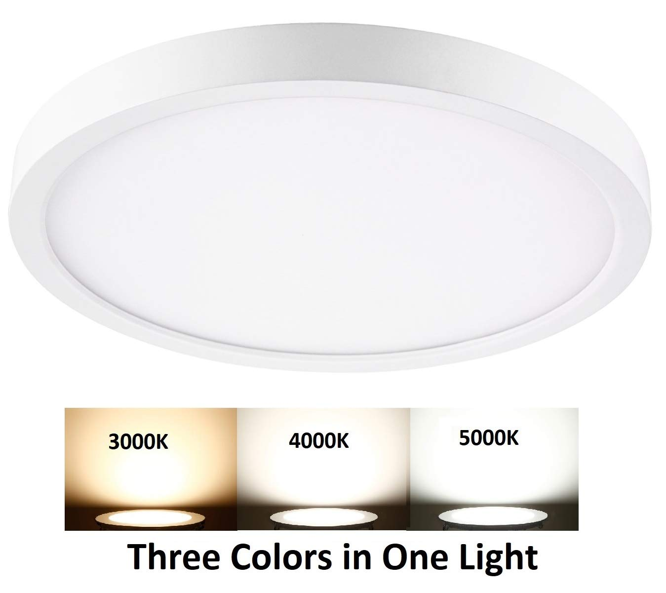 QPLUS 11 Inch LED Flush Mount Ceiling Light Fixture, Dimmable, 12 Watts, 850 Lumens, 50000 Life Hours, Energy Star and ETL Listed (3 Colors in One Light, 1 Pack)
