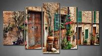 5 Panel Wall Art Streets of Italy Tuscany Towns Old Mediterranean Door Windows Flower Painting The Picture Print On Canvas Architecture Pictures for Home Decor Decoration Gift Piece