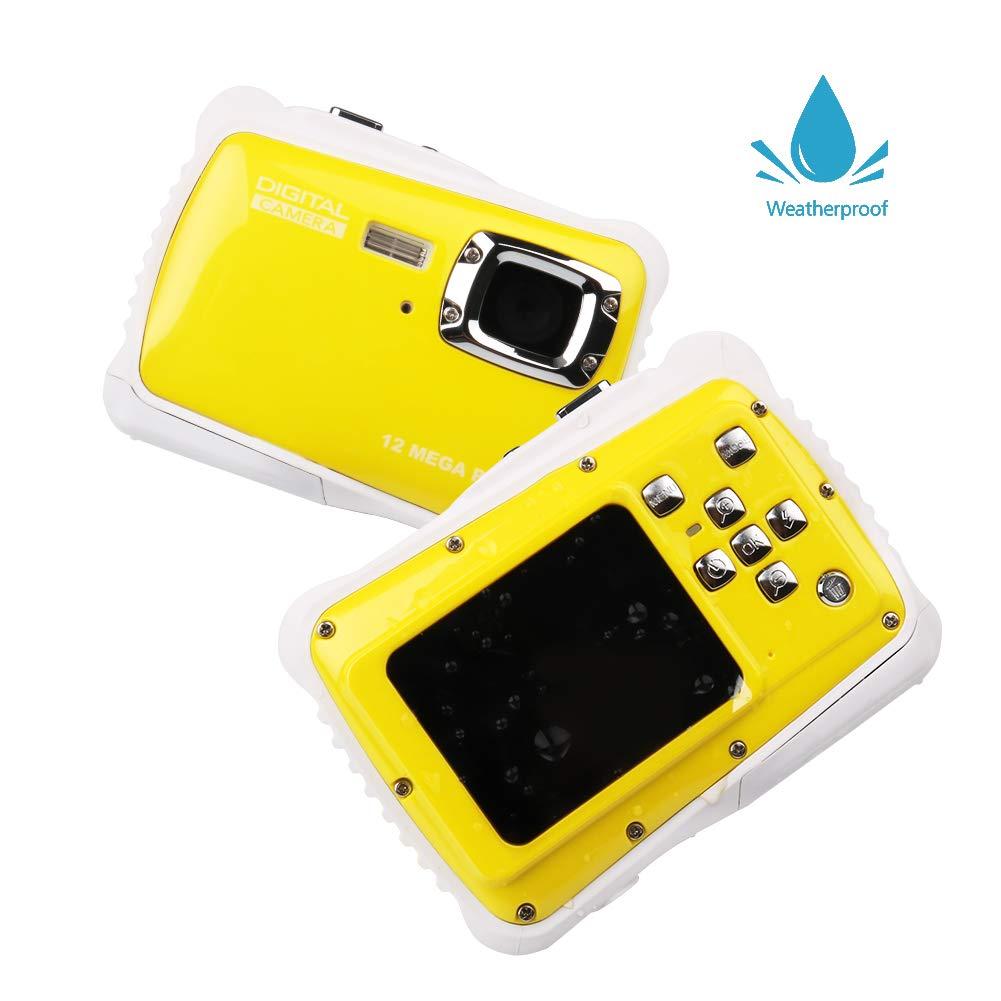 Smyidel Waterproof Mini Kid Camera High Definition 12MP HD 3M Underwater Swimming Digital Camera Camcorder 2.0 Inch LCD Display (Yellow)