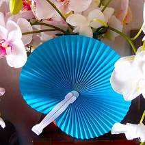 Quasimoon Folding Fans for Weddings - Accordion-Style Round Paper Hand Fans (9-Inch, Turquoise Blue, 10-Pack) - Ideal as Adult Party Favors, Gifts, and Decorations