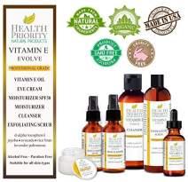 Natural & Organic Vitamin E Skincare System, Unscented. Vitamin E Oil, Vitamin E Eye Cream, Vitamin E Daytime Moisturizer with SPF 30, Vitamin E Moisturizer, Vitamin E Exfoliating Scrub & Cleanser